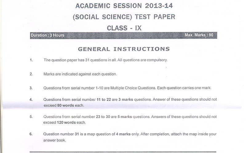 CBSE Class IX Social Science Sample Paper Part A