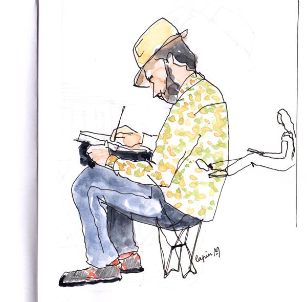 Lapin, dessinant à Lisboa.
