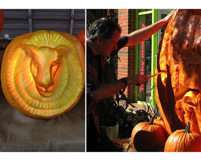 Pumpkin Patch Barnyard by pumpkin carver Hugh McMahon. Photos by Hugh McMahon.
