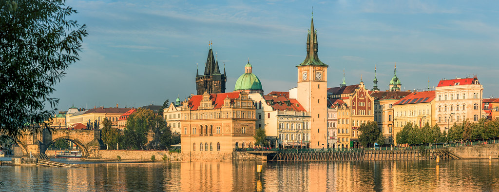 Panorama of Prague Old Town from the river. Subtle HDR