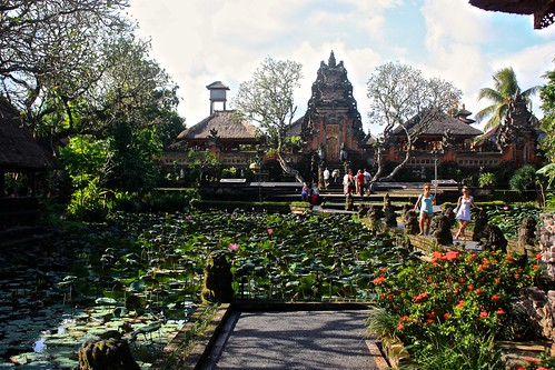 Lily garden in front of an Ubud temple