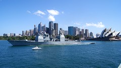 In this file photo, USS Chosin (CG 65) departs Sydney, Australia in October following the Royal Australian Navy's International Fleet Review. (U.S. Navy photo by Fire Controlman Third Class Andrew Albin)