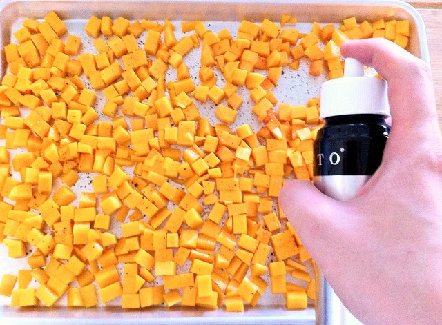 Misting Butternut Squash with Olive Oil