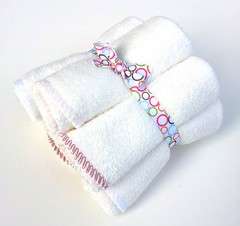 Pink Rosebud Bamboo Terry Wipes Set of 6
