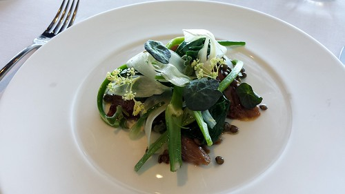 Quay: Milk Fed Suffolk Lamb Slow Braised in Salted Butter, Green Lentils, Capers, Garlic Scapes, Fennel, Young Onions, Orach