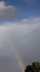 cumulus, cloud, rainbow, sunlight, daytime, sky,
