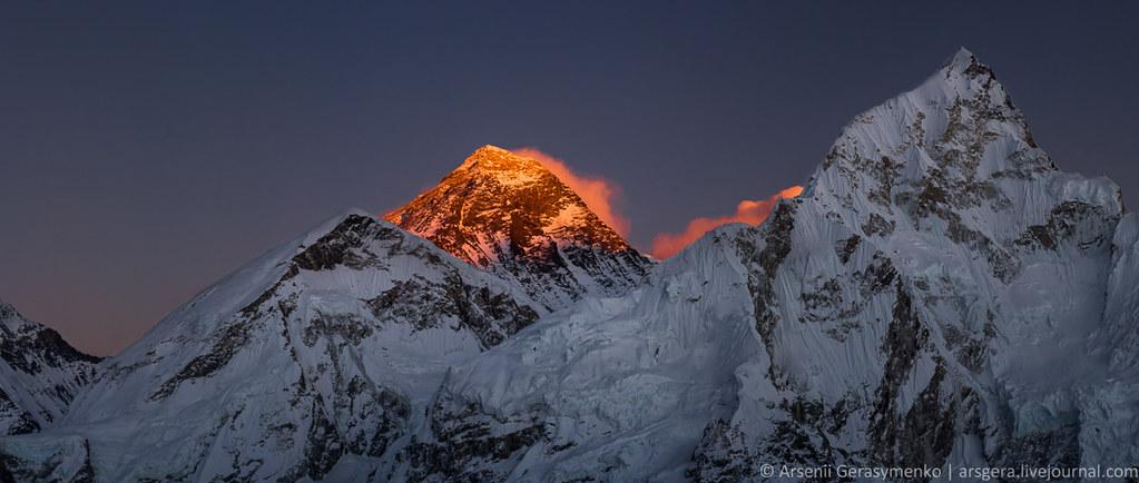 Burning Everest (8848 m) and Nuptse Mt. Peaks
