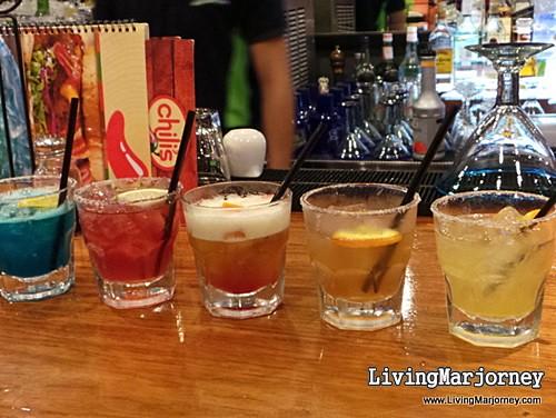Vibrantly-colored Chili's Rita Trio Margaritas