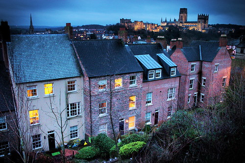 city houses light station train evening durham cathedral