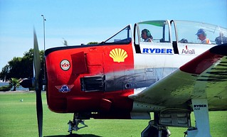 """1989 - North American T-28B """"Trojan"""" (VH-NAW) at Sports Aircraft Association Australia fly-in at Langley Park between the Swan River and city of Perth, Western Australia"""