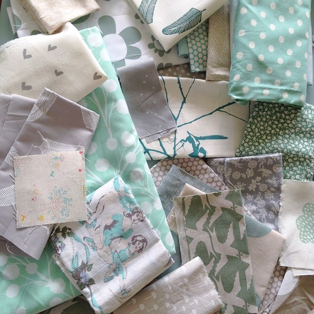 Pulling together fabrics for a custom single quilt, I think it will be very sweet :)