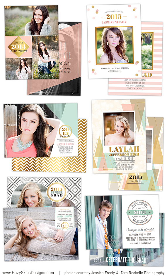 senior graduation card templates for photographers www.hazyskiesdesigns.com