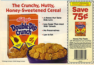 "Kellogg's DOUBLE DIP CRUNCH:: ""..Crunchy, Nutty, Honey-Sweetened..-"" SAVE 75¢ (( 1992 ))"