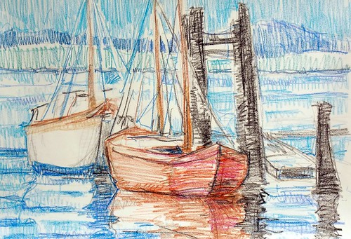 Crayon Drawing Boats in Ships Point