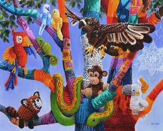 Up a tree (Yarn bombing tribute)