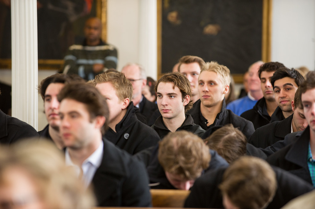 Students in Memorial Chapel for the College's annual Founders Day celebration.