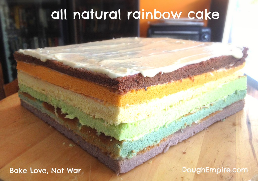 All natural rainbow cake w light yoghurt cream cheese frosting