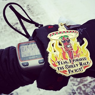 Squeaked under my arbitrary cut off. off my PB by a hair but I'll take a chilly 1:49:46 any day.  Yay me.