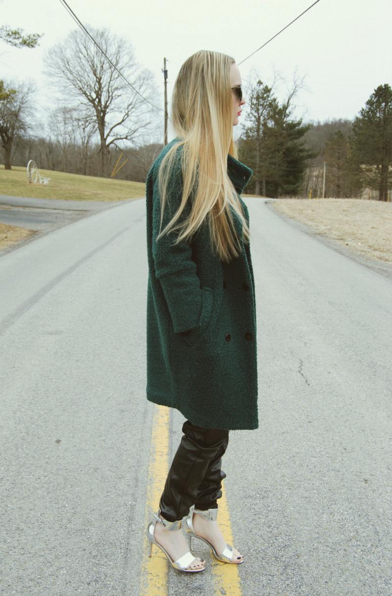 SheinsideTurquoiseCoat-LeatherSweatpants-IvankaTrumpSilverShoes