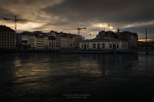 sunset lake de switzerland evening la cityscape geneva machine landmark pont