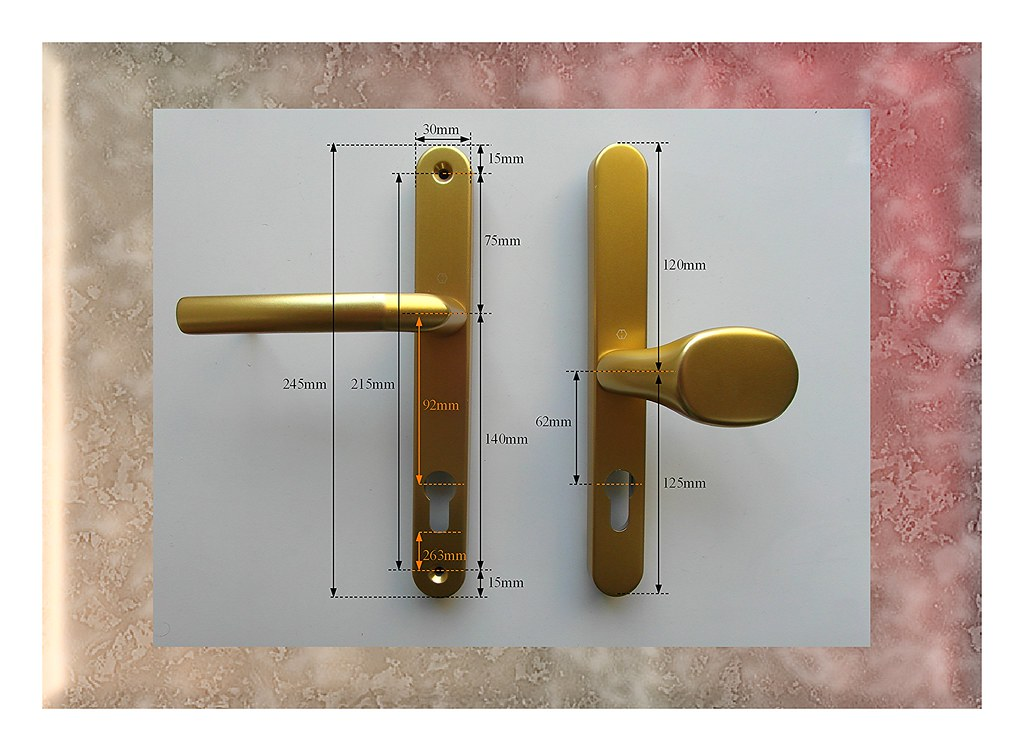 Hoppe gold 245mm pz92 62 offset pad lever handles for upvc for Upvc offset french doors