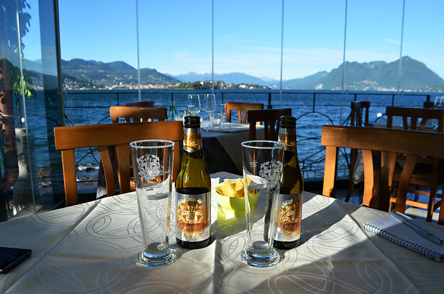 Beer with a view, Hotel Belvedere, Isola dei Pescatori, Lake Maggiore, Italy
