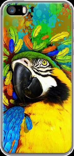 #Gold and #Blue #Macaw #Parrot #Fantasy By #BluedarkArt for #Apple #iPhone 5/5s #cases