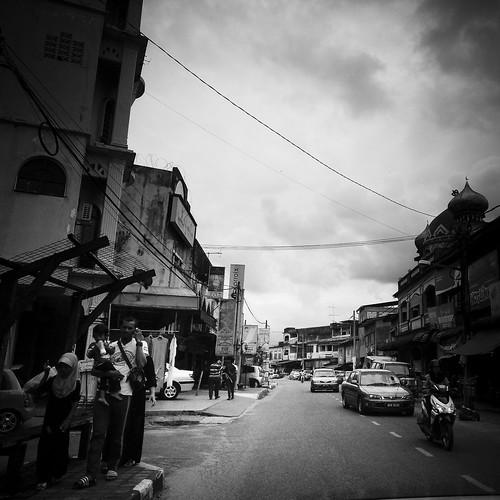 Late afternoon on a street in Rantau Panjang, Kelantan.