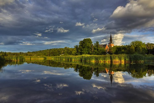 sunset canada reflection church de landscape quebec vincent paysage knowlton fortin estrie lest cantons