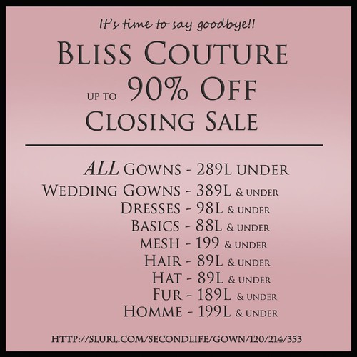 Bliss Couture Closing Sale Ad by Kara 2