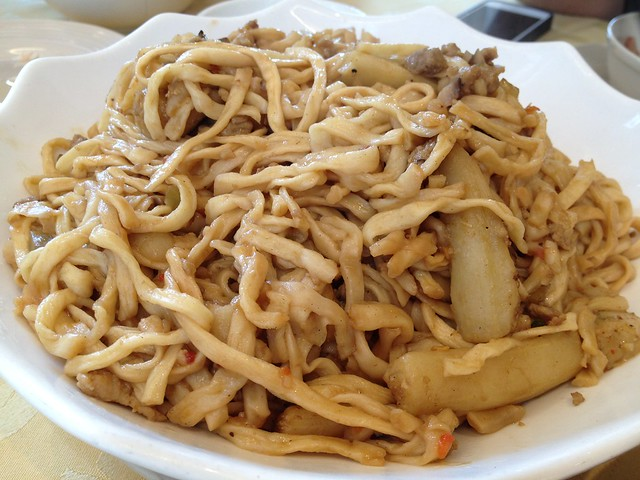 Stir-Fried Egg Plant Noodles with Minced Pork