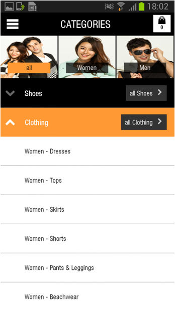 Sub Categories Page - Clothing