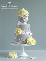 Yellow Roses and Swirls Cake