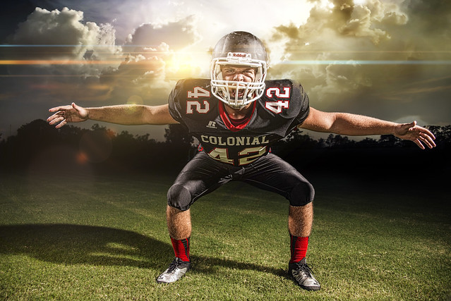 Colonial high school football team by commercial photographer Rich Johnson of Spectacle Photo