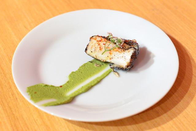 Mattei's Tavern halibut, lemon ash, pistachio