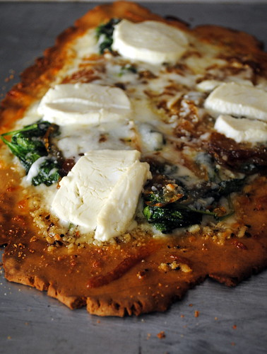 Pizza Bianca with Caramelized Onions & Spinach