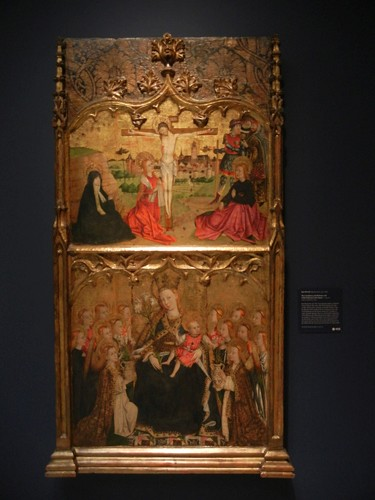 DSCN7705 _ The Crucifixion and Madonna and Child Enthroned with Angels, c. 1465-70, Juan Rexach (active 1443-1484), Norton Simon Museum, July 2013