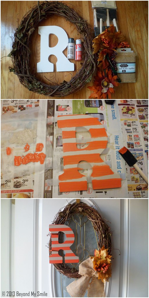 Fall Wreath_ Painted Wooden Letter