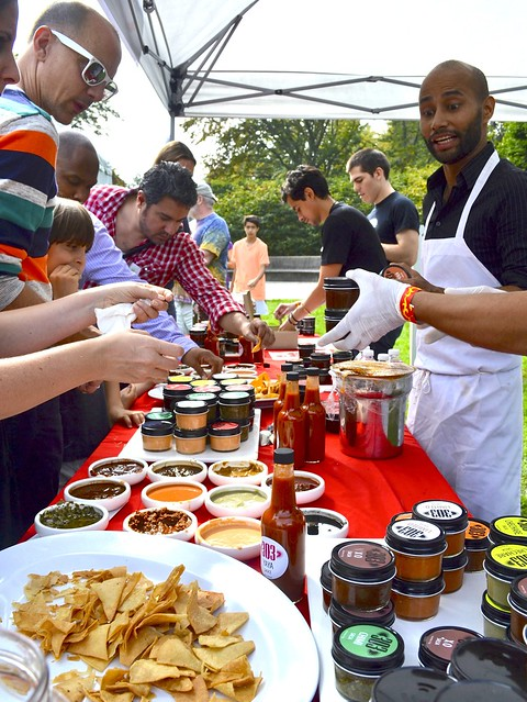 Spicy samples from 303 Salsas. Photo by Blanca Begert.