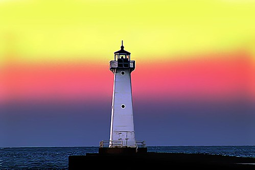 Lighthouse Sunset, Sodus Outer Lighthouse, Lake Ontario, New York State