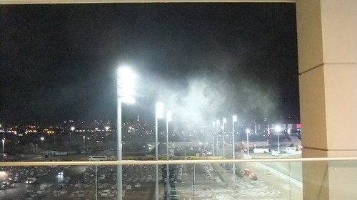 SnapShot | #Wind Whipped #Snow In #Meadowlands Lights From Upstairs