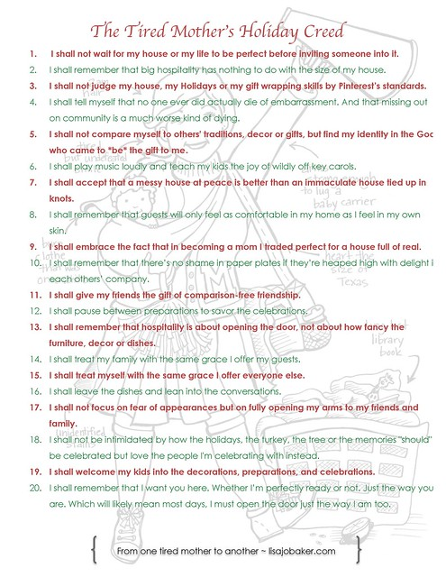 The tired mother's holiday creed by Lisa-Jo Baker
