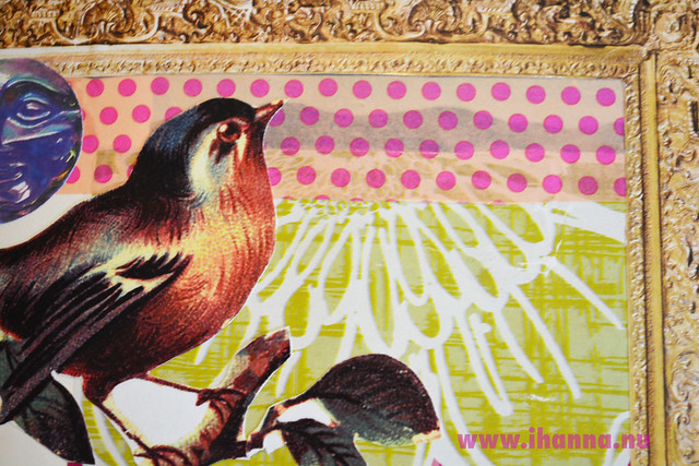 Art Journal Detail: Bird in Gold Frame corner
