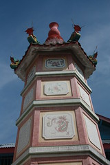 Exterior detail of Wat Chin Pracha Samosom, also known as Wat Leng Hok Yee.  The temple is Chinese, of which there are a lot of in the town