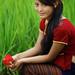 Thaman Nepali girl with flower, Chitwan National Parc, Terai, Nepal