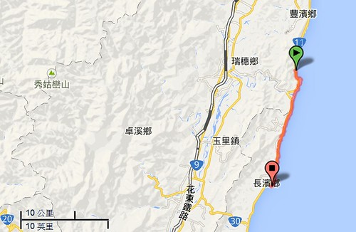 花東海岸位置示意圖,圖片來源:google地圖
