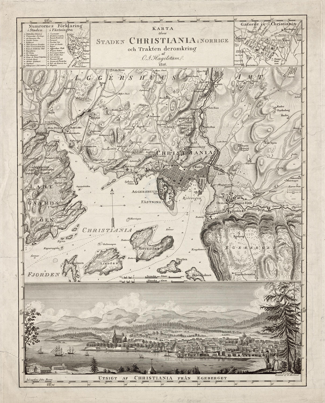 Hagelstam 1816. Karta öfver Staden Christiania i Norrige och Trakten deromkring