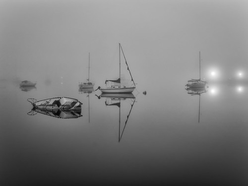 longexposure sky blackandwhite bw usa white mist black reflection water fog sailboat river landscape ir lights boat lowlight florida infrared sunken sunk cocoa watercraft centralflorida