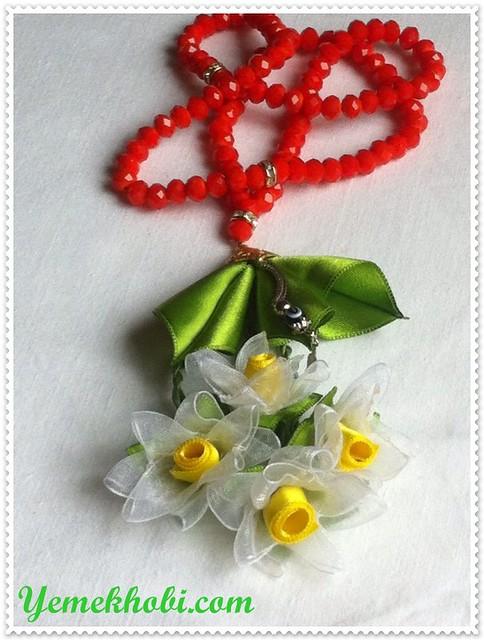 umre için tespih özel sipariş tespih kurdele nakışlı tespihler kurdele ile nergiz çiçeği yapımı çeyizlik