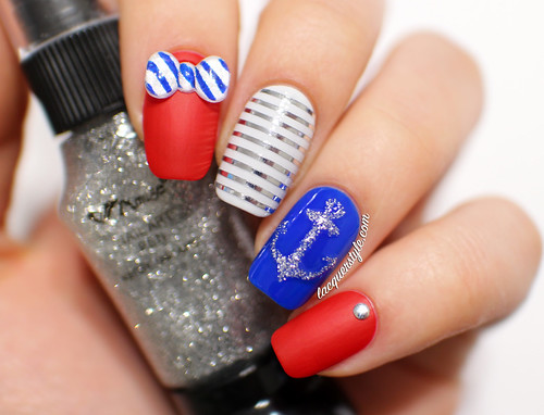 Lacquerstyle.com: Nautical Nail Art featuring Simply Spoiled Beauty